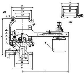 GA42H单杠杆安全阀外形尺寸图