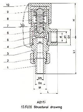 A21F A21H弹簧微启式外螺纹安全阀外形尺寸图