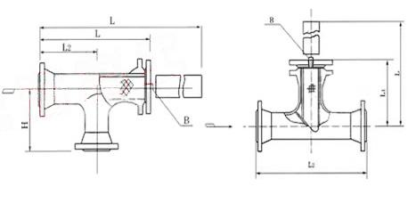 T型管道過濾器外形尺寸圖