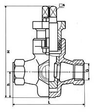 X14W三通内螺不锈钢旋塞阀外形尺寸图